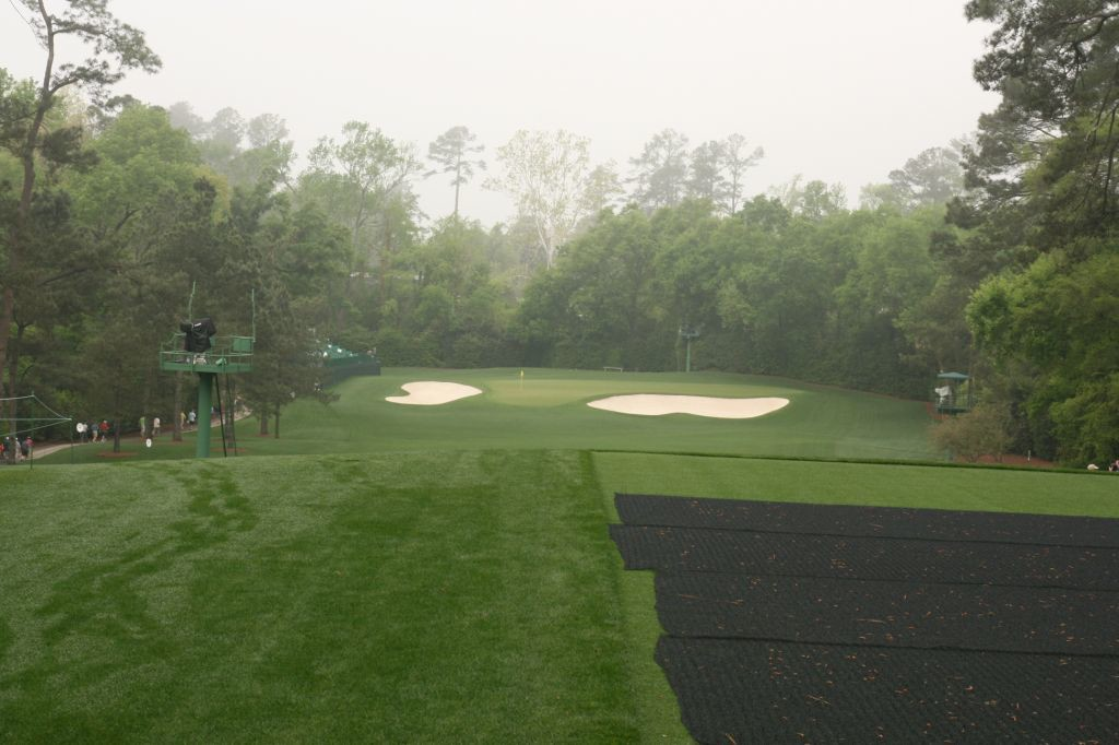 The early morning dew reveals the tracks of golfers fine tuning their game for the Masters.