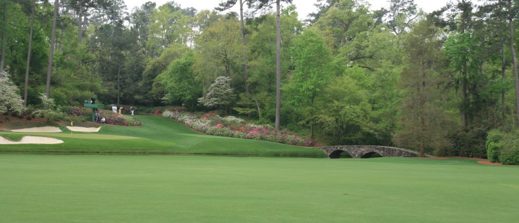The 12th green and 13th tee box of the famous Amen Corner.